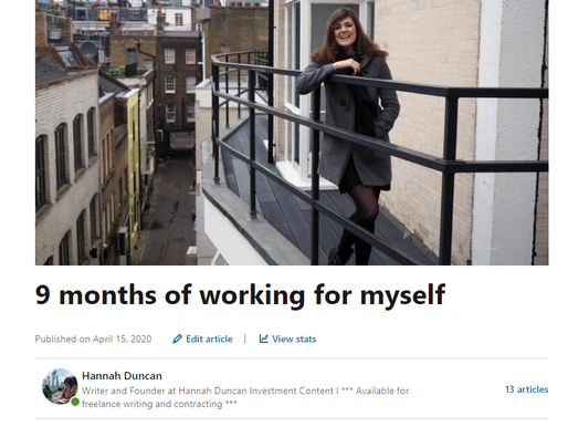 9 months of working for myself as a copywriter