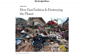 newspaper article about how fast fashion is destroying the planet