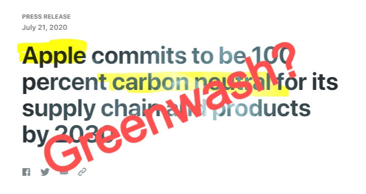 Apple carbon pledge greenwash Hannah Duncan Investment Content