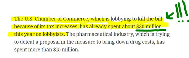 newspaper cut out from New York Times about US Chamber of Commerce $30 million spend Hannah Duncan Investment Content