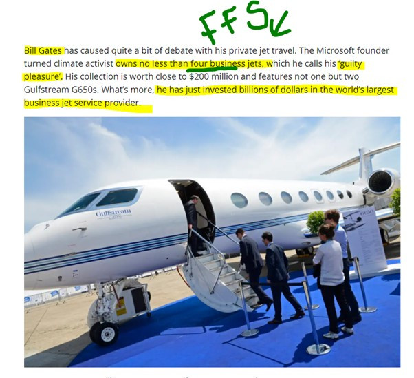 Clipping from Simply Flying about Bill Gates four private jets Hannah Duncan Investment Content