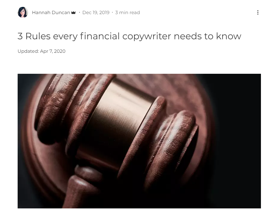 website page from Hannah Duncan Investment Content about rules for financial copywriters with a court room hammer image