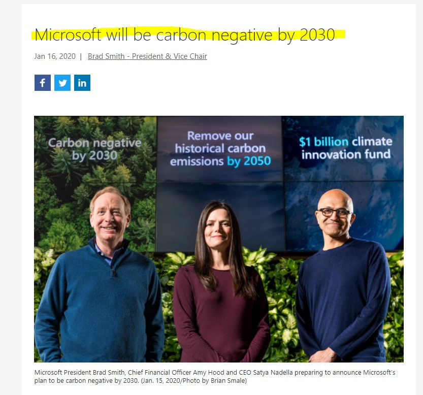 Microsoft carbon neutral pledge in highlight Hannah Duncan Investment Content