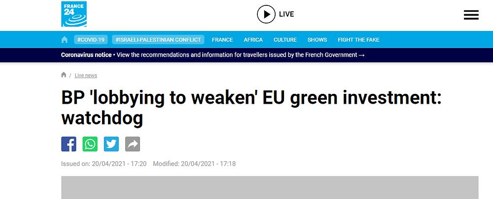 News headline, BP lobby to weaken EU green investment watchdog