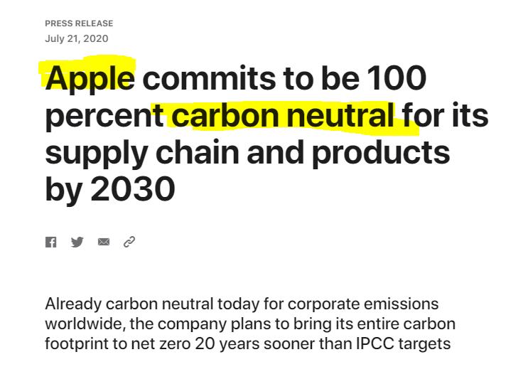Apple carbon neutral pledge Hannah Duncan Investment Content