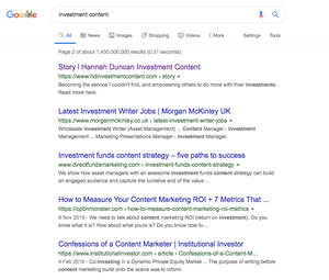Google search engine results for Investment Content, Hannah Duncan Investment Content at top of page 2