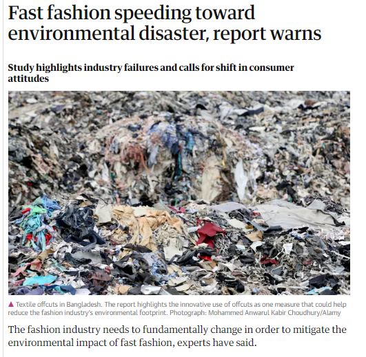 news paper article about how fast fashion is an environmental disaster