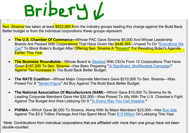 press release from Accountable US about bribery Senator Sinema Hannah Duncan Investment Content
