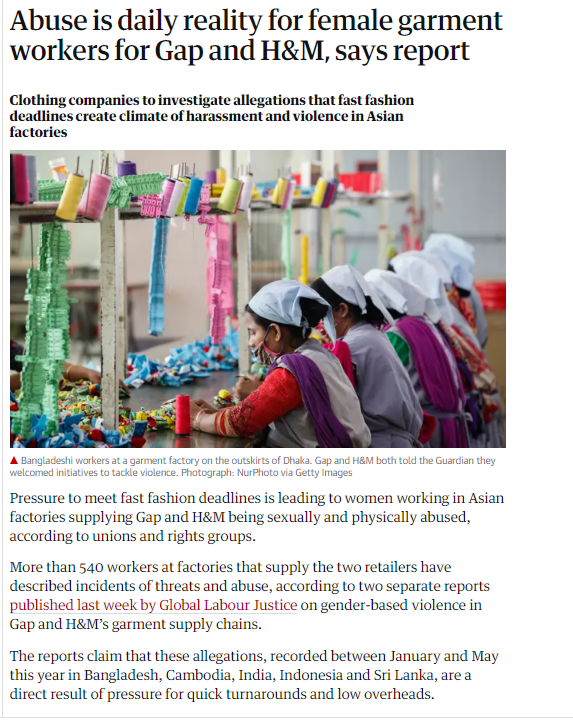 The Guardian article about H&M and Gap abuse of garment workers
