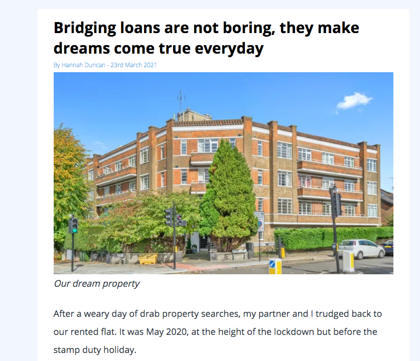 snapshot of a website article about bridging loans by Hannah Duncan