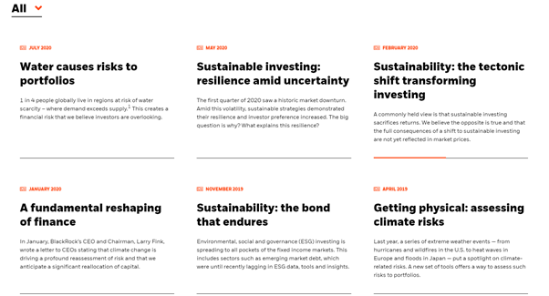 A collection of Blackrock articles about sustainable investing