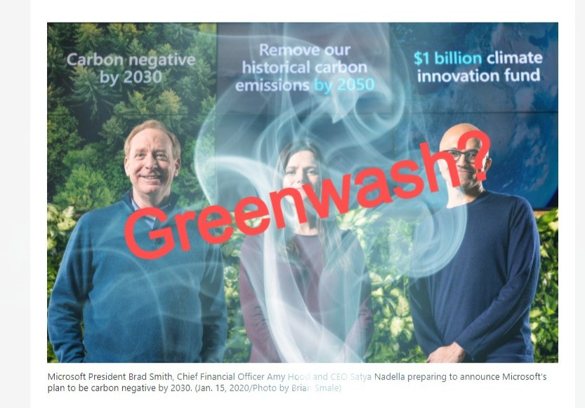 Microsoft carbon neutral greenwash Hannah Duncan Investment Content