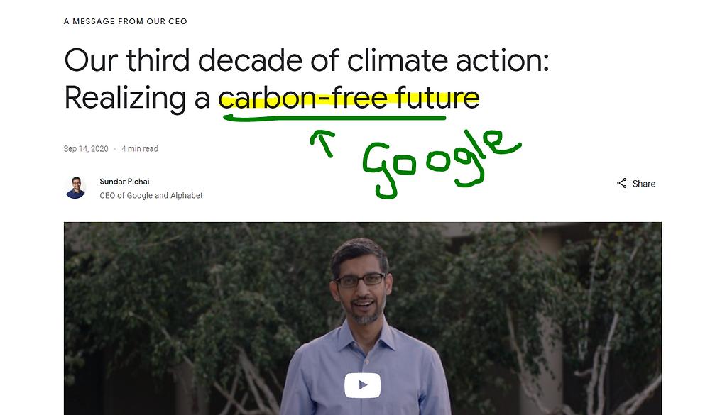Alphabet carbon neutral pledge Hannah Duncan Investment Content