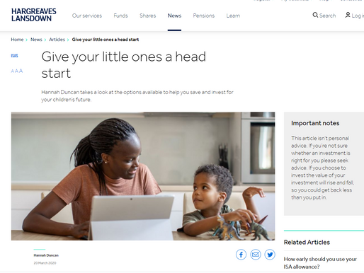 Copywriting for Junior ISAs and Junior SIPPs