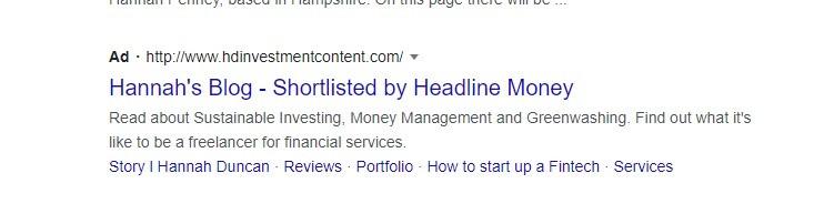Hannah's Blog Shortlisted by Headline Money, Google Ad