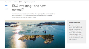 ESG investing article written by Hannah Duncan