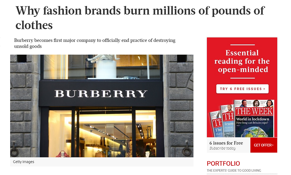 article about why fashion brands burn millions of pounds of clothes