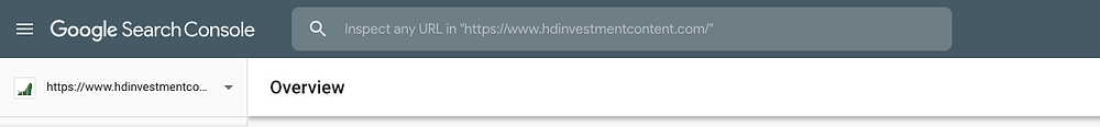 Google Search Console search bar of Hannah Duncan Investment Content