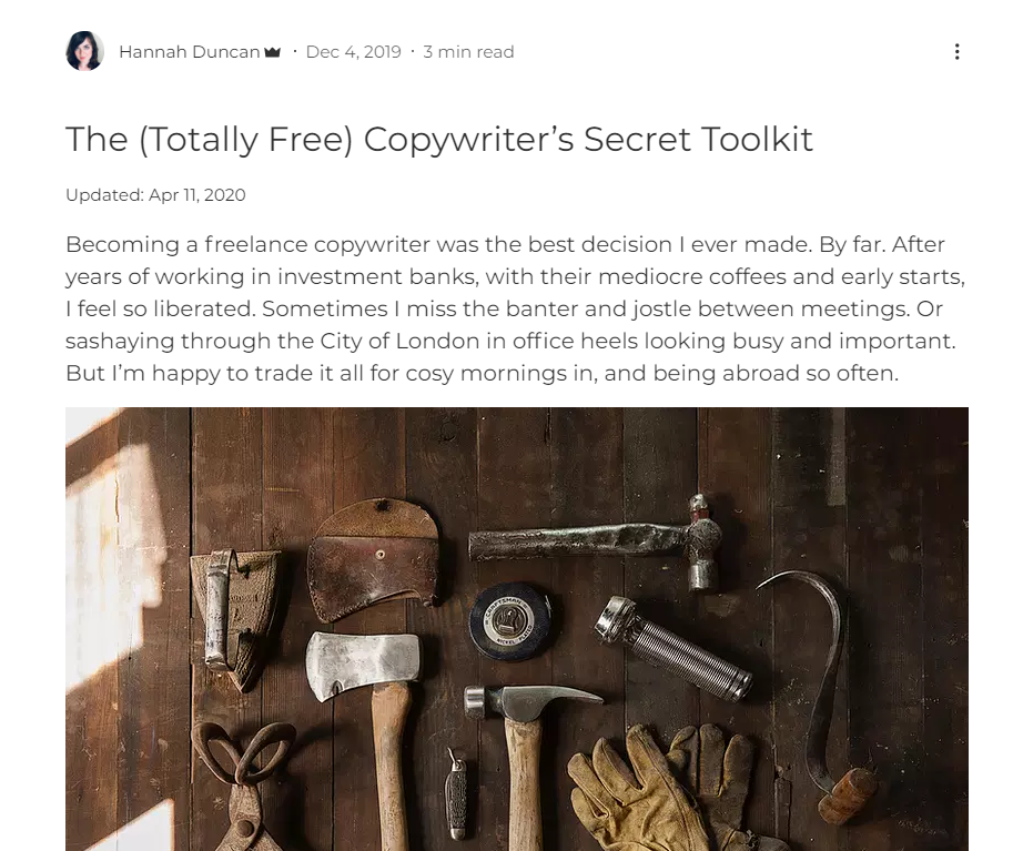 Hannah Duncan Guide for Financial Copywriters online article