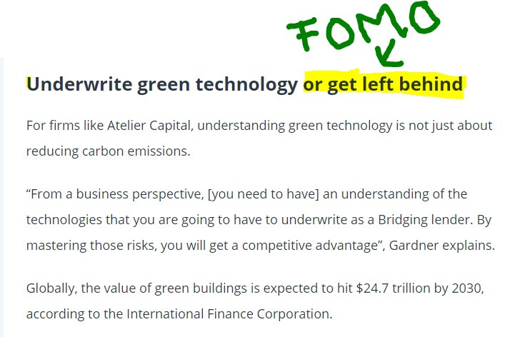 Text about green technology and FOMO