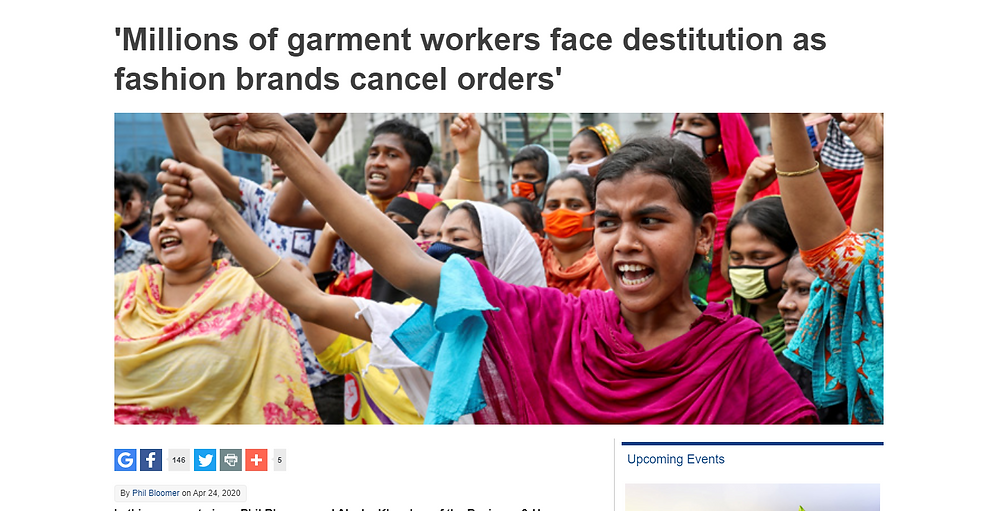 news article about millions of garment workers facing destitution