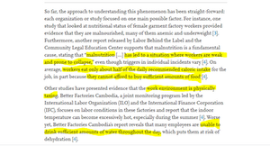 an academic study about malnutrition and dehydration of garment workers