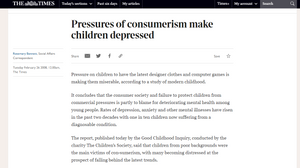 newspaper article from The Times about how consumerism makes us depressed