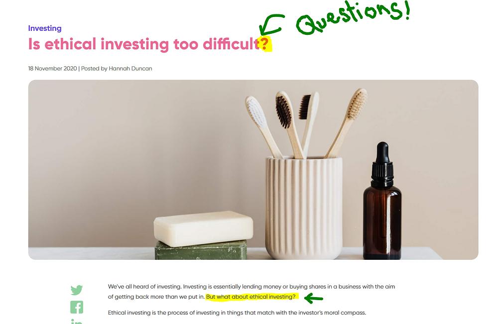 Financial Blog Content which uses questions by Hannah Duncan