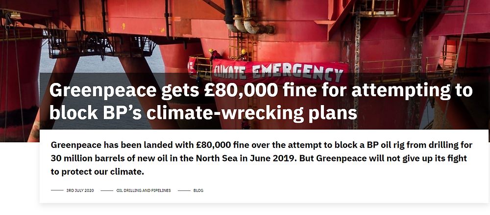 GreenPeace blog - BP fine GreenPeace 80,000 Hannah's blog