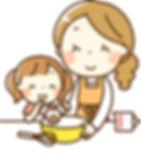 ママと一緒に料理する女の子