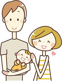 パパが赤ちゃんを抱っこしてくれて喜ぶママ