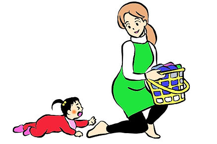 ママの後追いをする赤ちゃんのイラスト