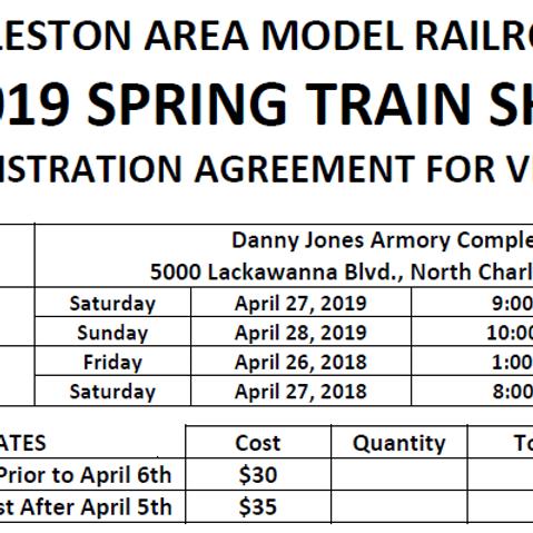 Charleston Spring 2019 Train Show - April 27th & 28th