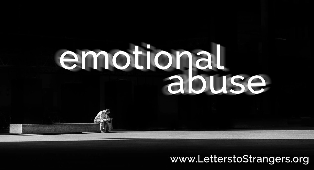 Emotional Abuse cover image, black and white and featuring a person sitting alone on a bench looking down