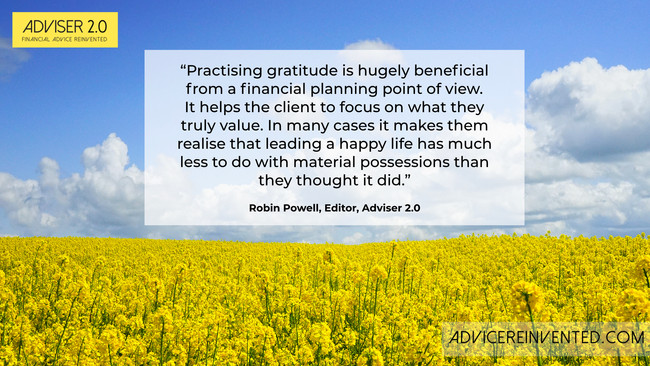 Gratitude as an aid to financial planning