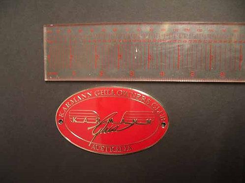 Karmann Ghia Owners Club Metal Grill Badge