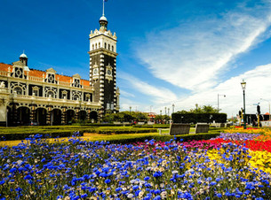 Dunedin Railway Station and flower beds in sunshine by Trev Hill Photography