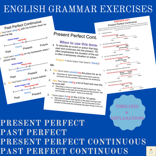 Intermediate ESL/EFL Grammar Practice:Present/Past Perfect & Perfect Continuous