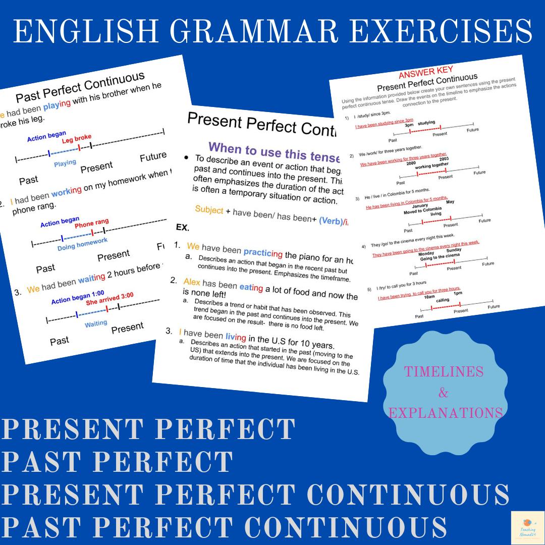 Intermediate ESL/EFL Grammar Practice:Present/Past Perfect & Perfect Continuous