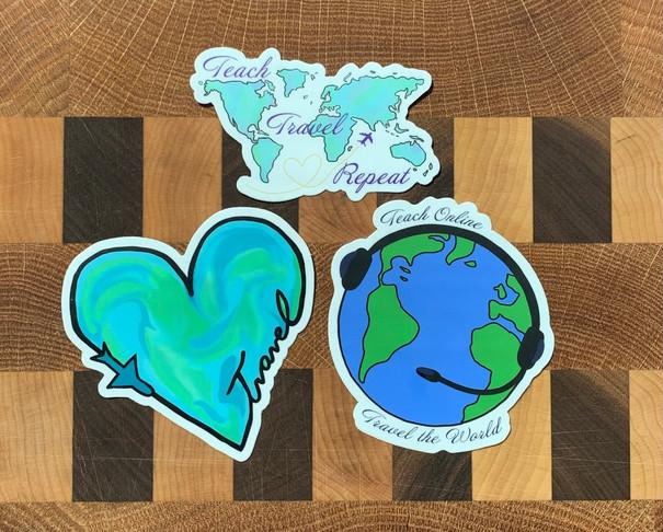 Teach and Travel Stickers | Durable Vinyl Sticker | Online Teaching Stickers | Adventure Stickers | 3 Pack | Teacher Gift |