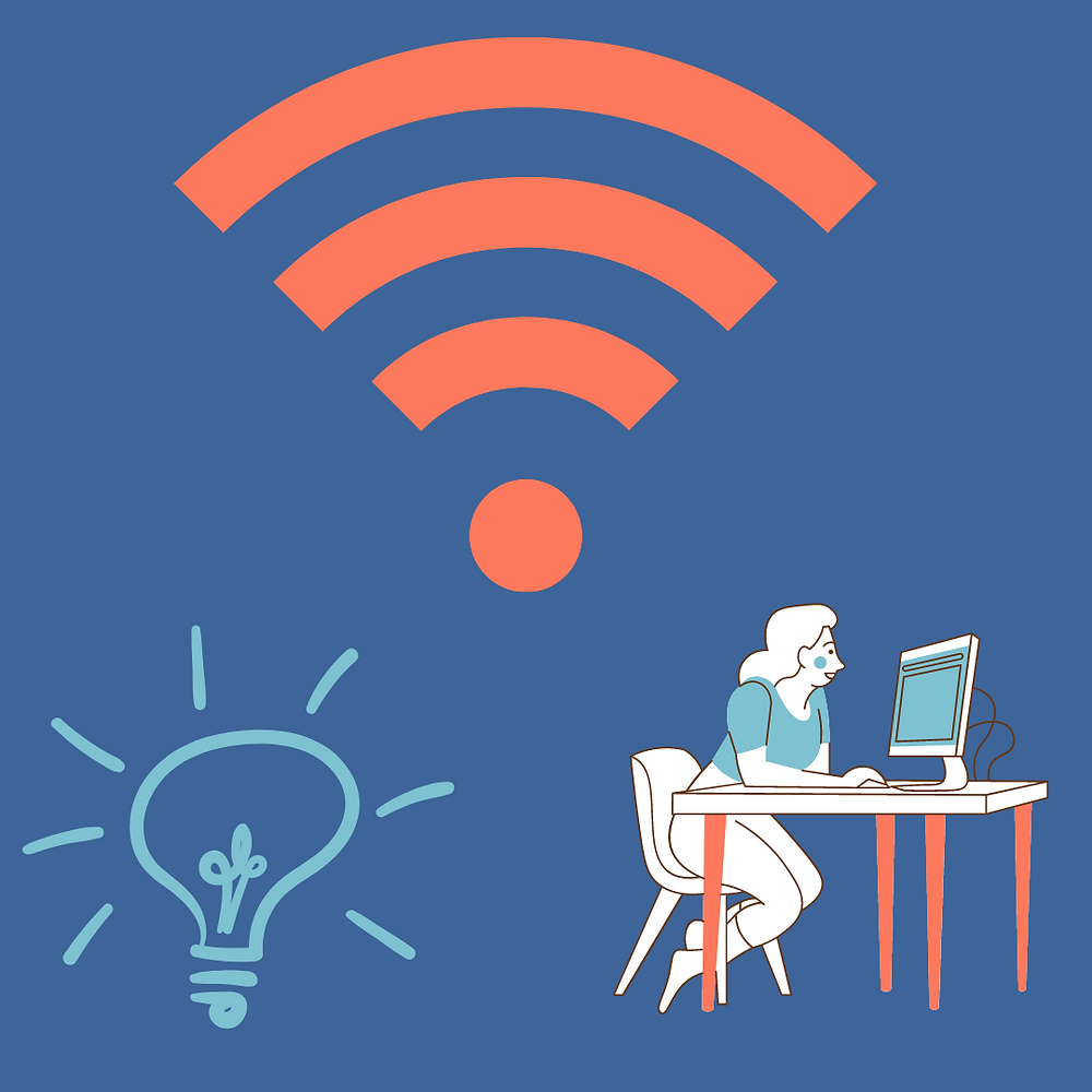 Upper center of the picture is an orange wifi symbol, bottome left is an outline of a lightbulb and bottom right corner shows a cartoon girl sitting on her computer.