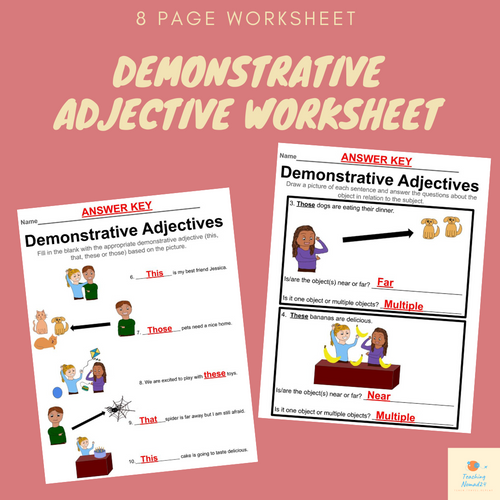 Demonstrative Adjective Worksheet