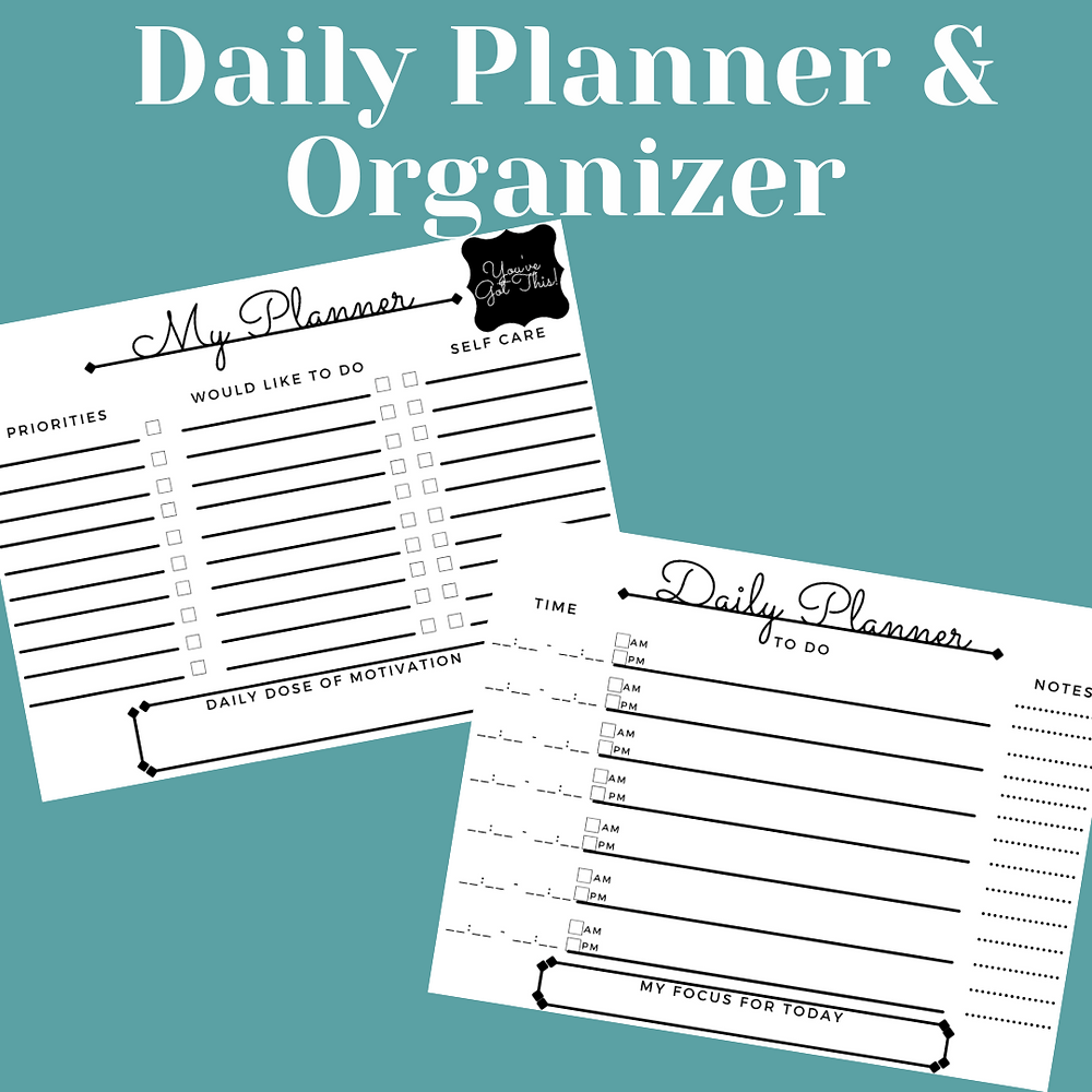"""Text reads """"Daily Planner & Organizer"""" in white lettering. 2 images of sheets of paper with columns for writing your to do list and priorities are on the sheets placed on a blue background."""