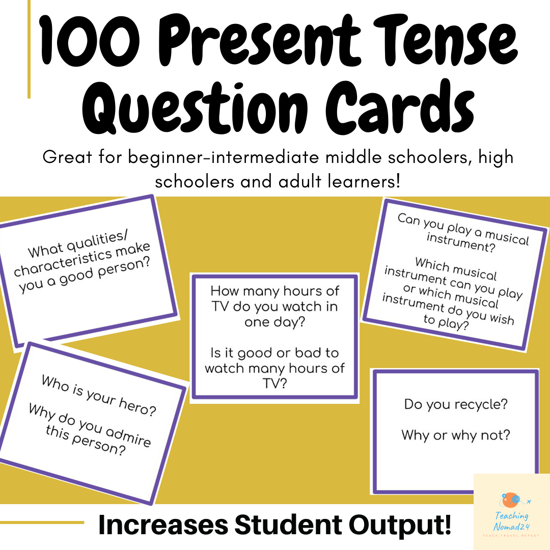 100 Present Tense Question Cards