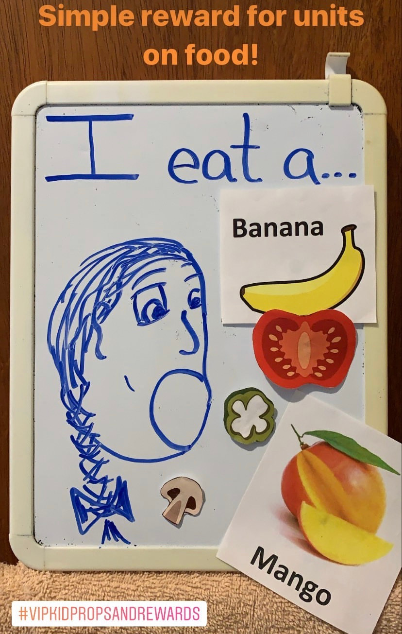 "White board with a image of a girl surrounding by images of food. Above the girls head it says ""I eat a..."". Teaching tool and supplementary reward for online teaching."