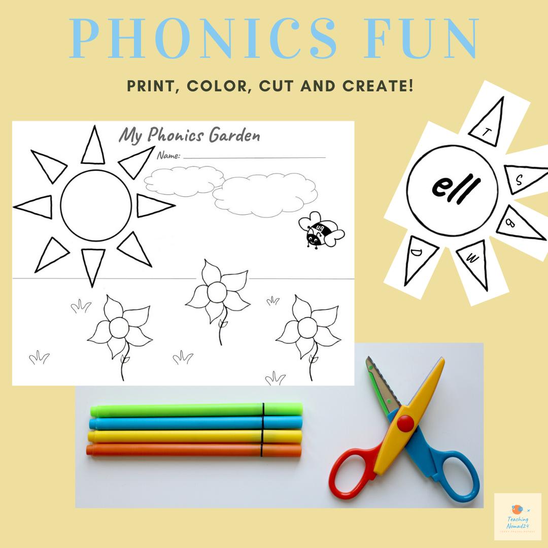 SpringTime Phonics Fun B&W Worksheet