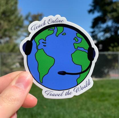 Teach Online & Travel the World Sticker