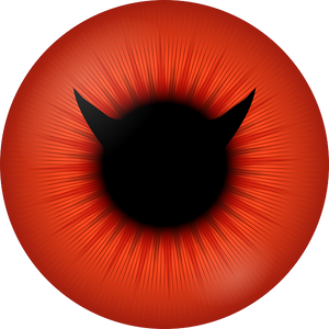 Outline of Devil head within a red eye.