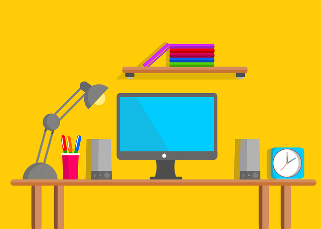 Cartoon workstation on yellow background.