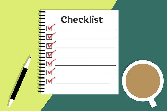 7 Item checklist on green background